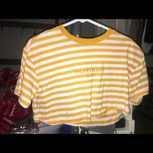 Yellow Striped Crop Top